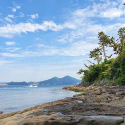 korea blue sky sea freetoedit