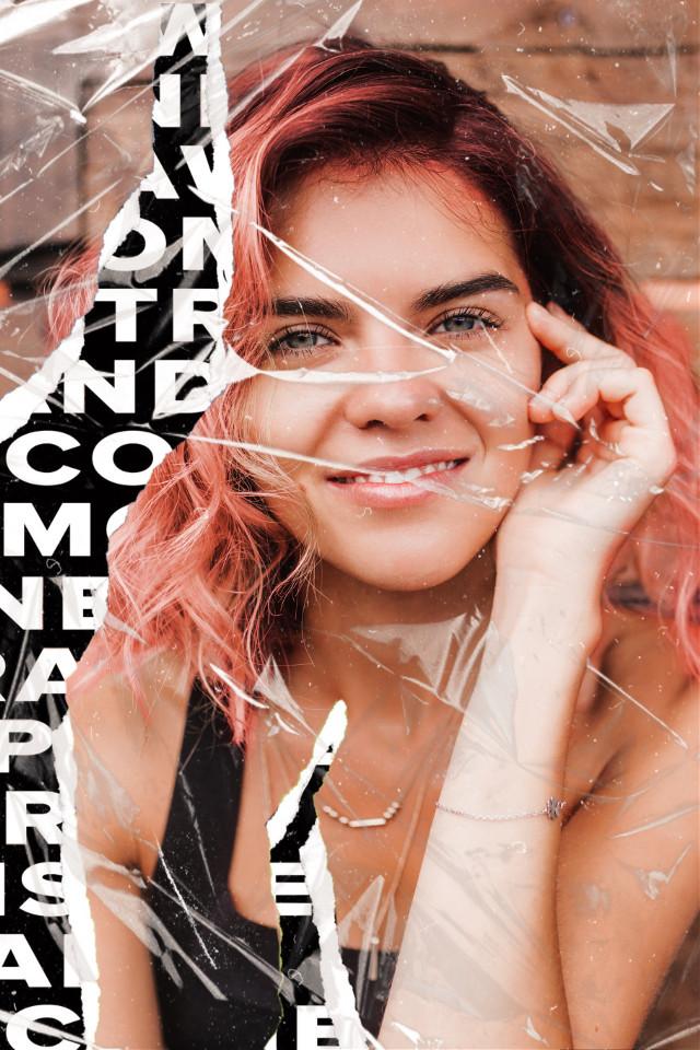 #freetoedit #beautify #hairchange #haircolor #pinkhair #plastic #tornpaper #paperart #rippedpaper #editorial