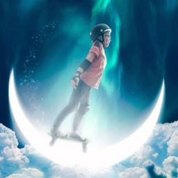 skateboard skatergirl moon halfpipe clouds freetoedit