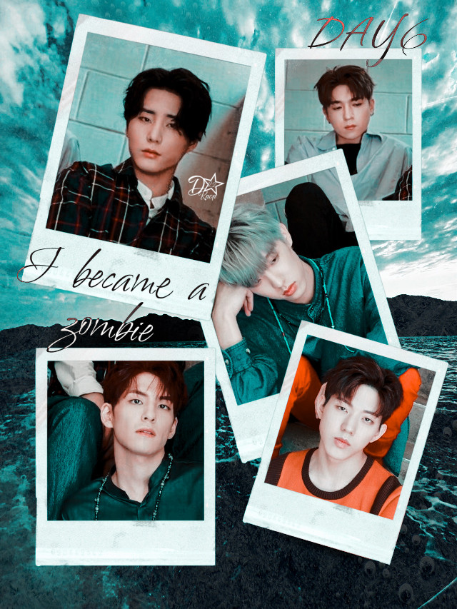 """ i became a zombie"" - day6  Thoughts? #day6 #kpop #zombie #collage #polaroid #blue #freetoedit"