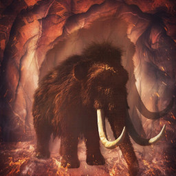 mammoth stoneage cave flames fire freetoedit
