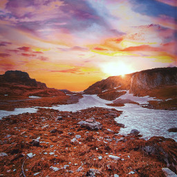 mountain sky sunset sunrise sun
