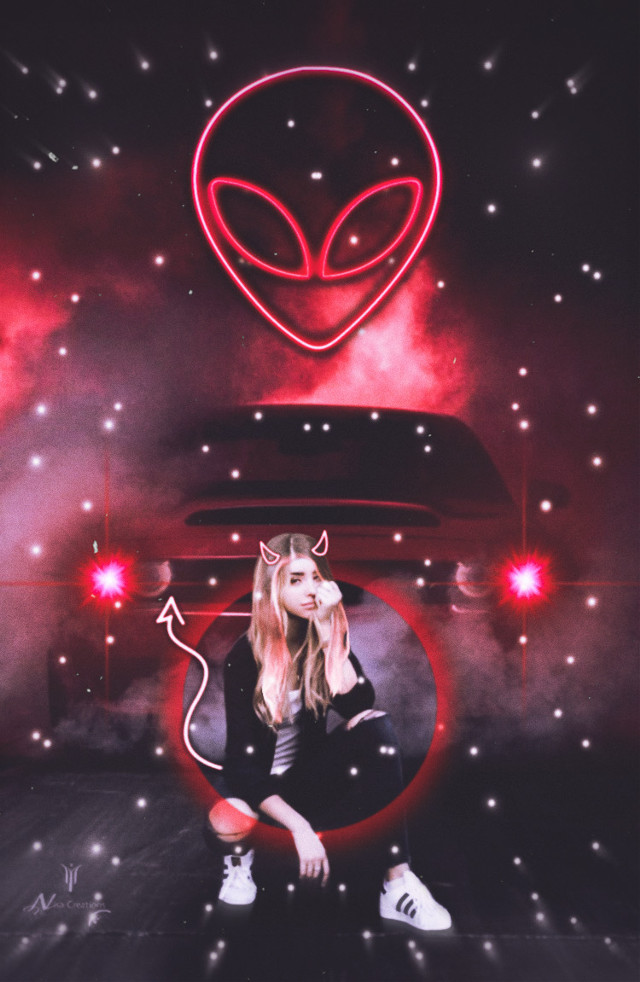 #freetoedit me and YBN we be some ALIENZ 👽👽👽 #interesting #neon #carsoftheday #carshow #alien #clout #amateuredit #red #model