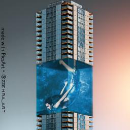freetoedit underwater tower swimming madewithpicsart