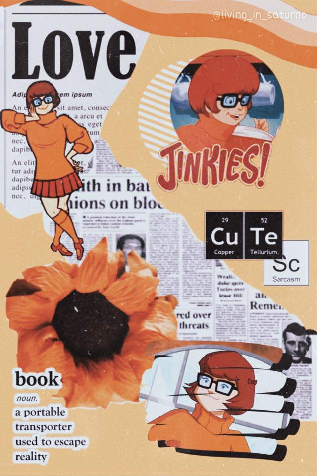 #freetoedit #velmadinkley  #velma  #orangeaesthetic  #orangebackground  #jinkies #sunflower  #newspaper  #scoobydoo  #scooby  #mistery