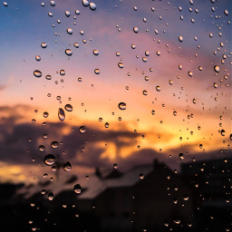 raindrops sunset sunsetcolors cloudy windowview freetoedit frommywindow pcfrommywindow