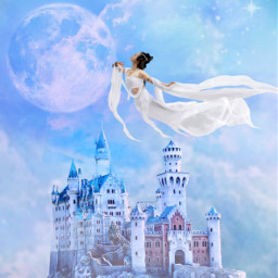freetoedit fantasyart castle sky clouds