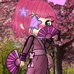freetoedit gachalifeedit pink cherryblossom kimono