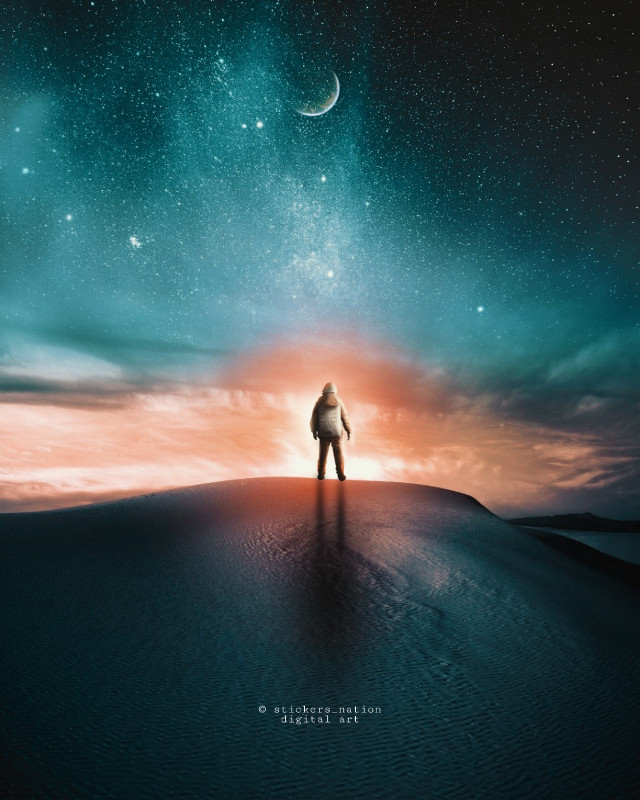 #freetoedit #nightsky #starrysky #starrynight #landscape #walpaper #background #photomanipulation #madewithpicsart #papicks #surreal #surrealism #fantasy