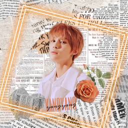freetoedit wayv yangyang orange newspaper