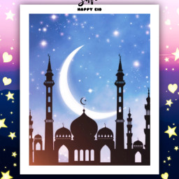 freetoedit mishik happyeid eidmubarak eid picsart myedit picsart frame background staysafe safeeid stars moon heart