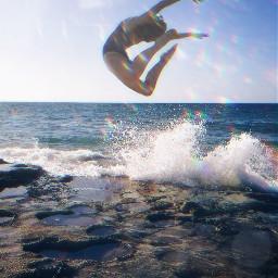 freetoedit woman jump ocean beach