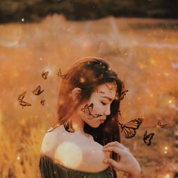 freetoedit nature girl butterflies smoke