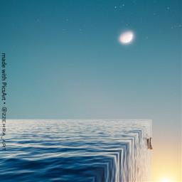 freetoedit moon sea ocean boat ecsurrealisticworld surrealisticworld