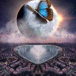 freetoedit space moon city butterfly eclipse