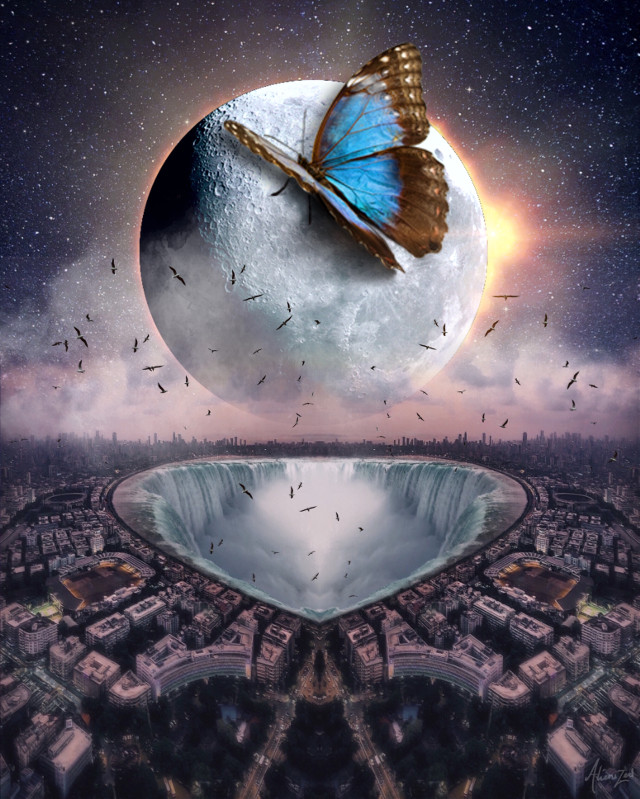 Have a nice wednesday planet 👋🏻👽👉🏻☕️🍪@PA   #freetoedit #space #moon #city #butterfly #alienized #wallpaper #uhd #eclipse #editedwithpicsart