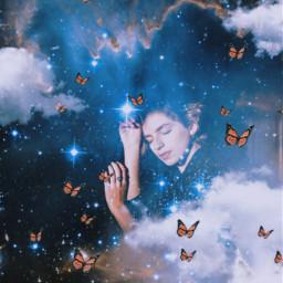 freetoedit vintage galaxy space butterflies