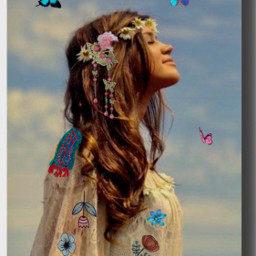 peace hippie fantasy girl imagination freetoedit
