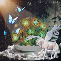 freetoedit challenge forest magical snowglobe unicorn horse magic butterflies leaves