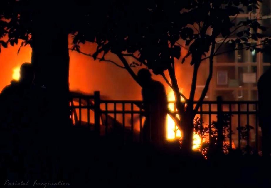 Silhouette of destruction, a car burning during rioting in Atlanta, Georgia.  Photo by: Parietal Imagination Art @pa, May 29th, 2020 #atlanta #georgia #protests #riots #georgeflynn #donotedit #myphoto #myphotography #vip #parietalimagination