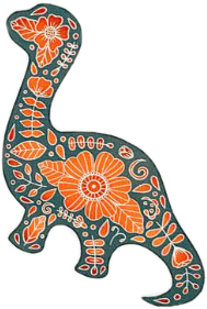 #freetoedit #dinosaur #dino #aesthetic #cute #vsco #floral #flower #orange #green #prehistoric #rawr