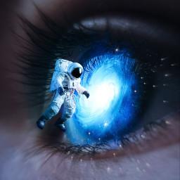 freetoedit galaxy eye austronaut flying