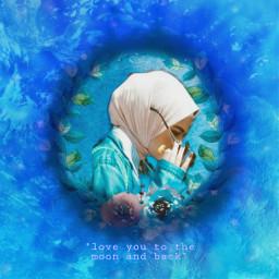 freetoedit blueaesthetic sister muslem hijab