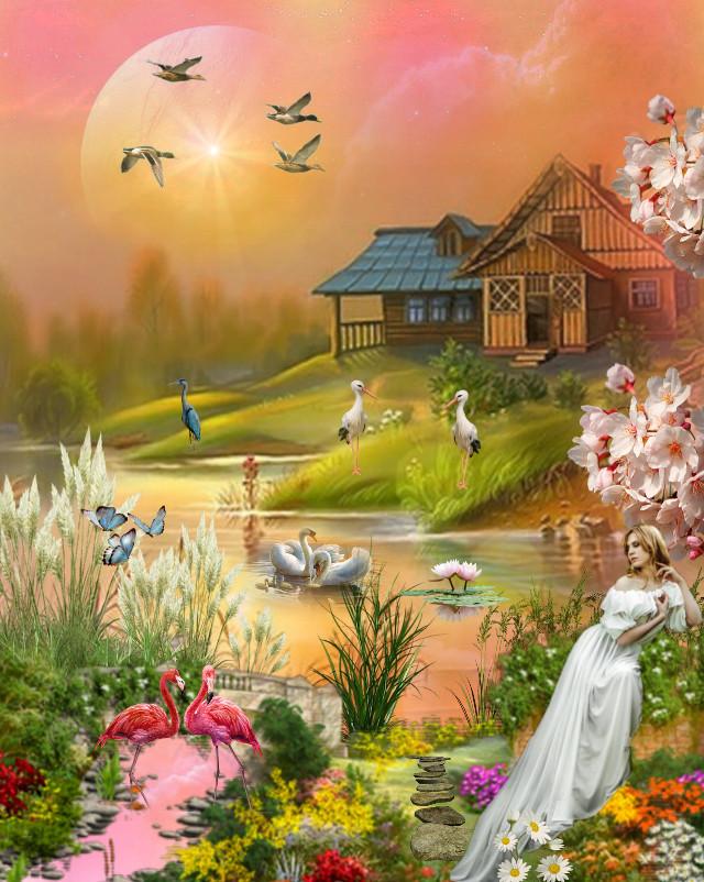 #freetoedit #picsart @picsart #nature #landscape #stepbystep #remixit #garden #learningpicsart #editedstepbystep #lovepicsart #sunset #madewithpicsart #editedbyme #editedwithpicsart #fx #replay #edited #swans #blossom