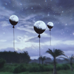 freetoedit surreal space moons baloons