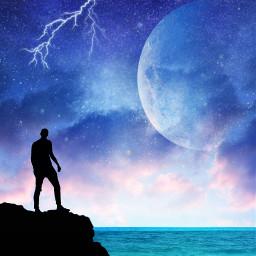 sky himmel water moon man freetoedit