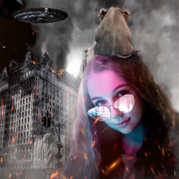 portrait girl city burning fire freetoedit