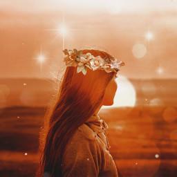 freetoedit girl flower light orange scenery