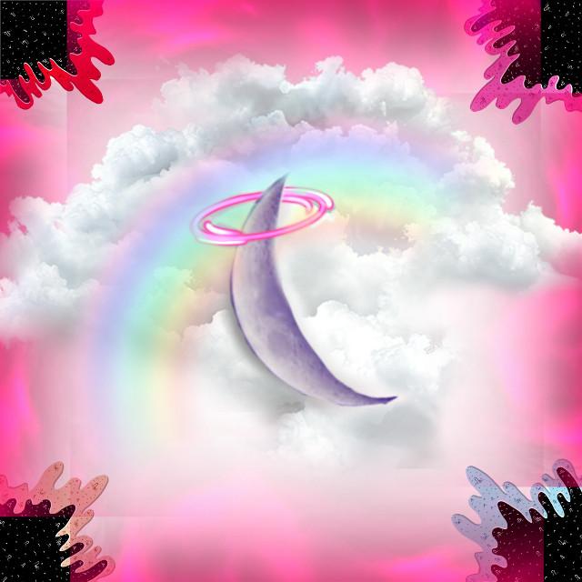 #luna #nuves #arcoiris #rosa #remix  #freetoedit
