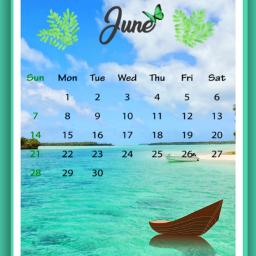 freetoedit calendar june summer ocean srcjunecalendar junecalendar #summertime