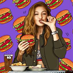 freetoedit burger cocacola fries gigihadid ecfastfoodemojibackgrounds