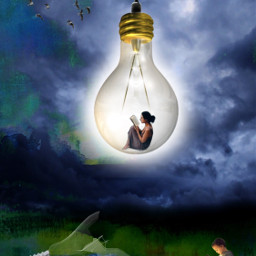freetoedit bulb reading fantasy art stickersfreetoedit