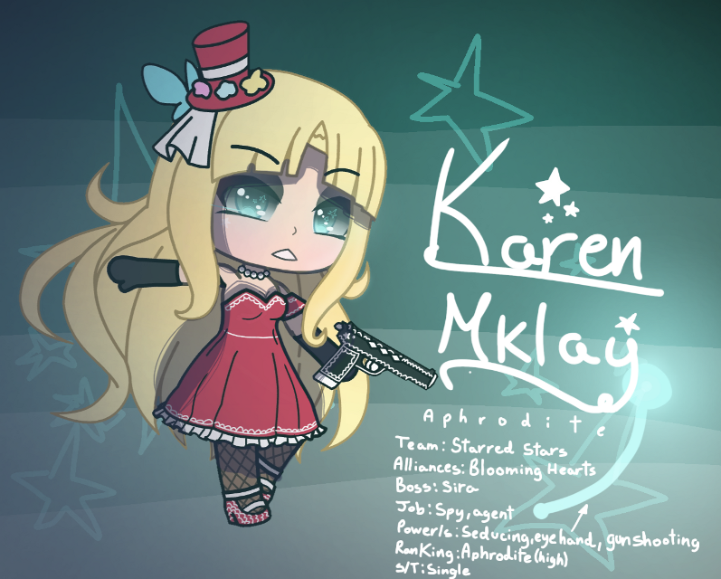 So... here's another oc of mine, agent/spy... I have a problem ,_,  You have her description there, maybe a little diferent... but you have it.  (She will regect any guy who wants to date her) because... find out by roleplaying UwU  You can roleplay with her in remix chat or when the comments will be back to know more about her.  Time : 0:57:00  __________________#Hashtags#_________________ #agent #spy #agentspy #gacha #life #gachalife #edit #gachaedit #gachalifedit #gachalifeedit #Karen #Mklay #KarenMklay #oc #gachaoc #gachalifeoc #aphrodite   (Sorry for any spelling mistakes)  And the power seducing would be like charming? What's the other way to say it?