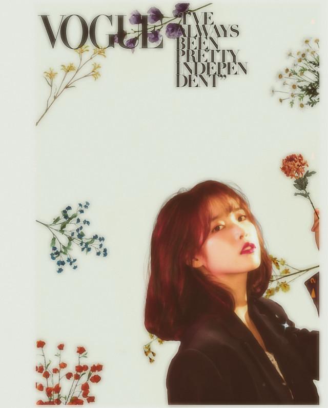 IU// _ _ #freetoedit #iu #kpop #k-pop #cute #vogue #magazine #aesthetic #flowers #floral #green #wallpaper #leejieun #jieun  _ _ Credits: