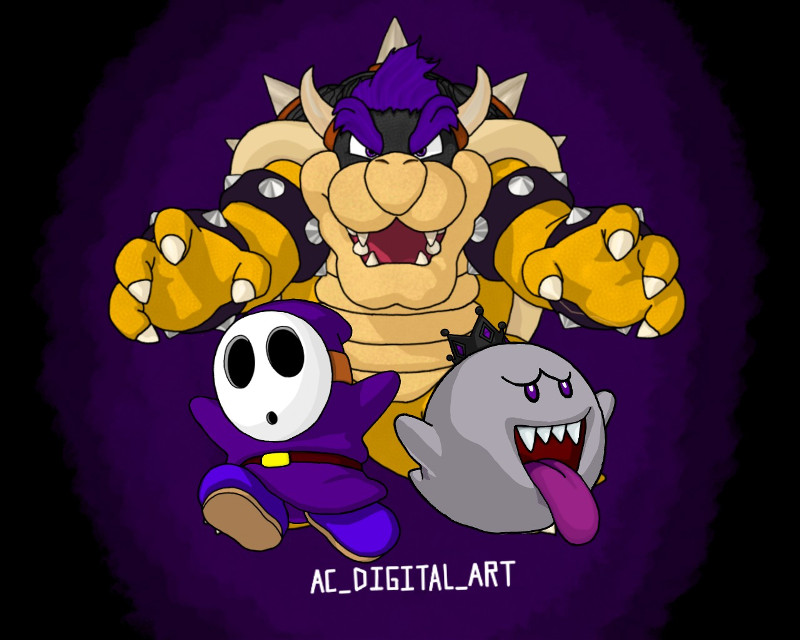 Continuing with the shirt designs my version of the three best characters in mario     #AC_DIGITAL_ART #art #artist #picsart #picsartedit #painting #drawing #logodesign #logo #design #mario #kingboo #bowser #shyguy