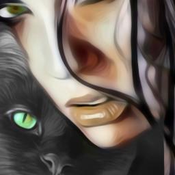freetoedit woman blackcat greeneyes pet