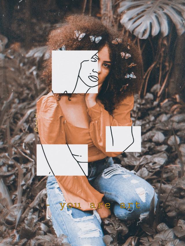 ✏️you are art✏️ ✏️ #freetoedit #aesthetic #girl #sketcheffect ✏️#1994 #m278 #orange