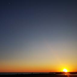 sunset sun sea moon sky