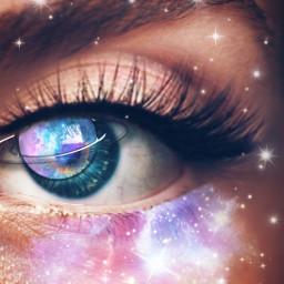 eye galaxy stars eyelashes eyesblue rcgalaxyeye galaxyeye