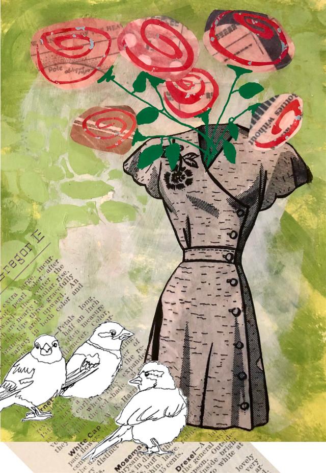 #birds #flowers #roses #dress #green