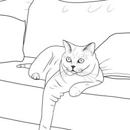 blackline mydrawing cat coloringpage layingdown freetoedit