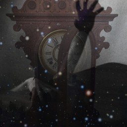 freetoedit cosmic stars grandfatherclock handsintheair