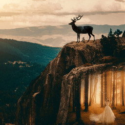 freetoedit myedit girl mountain deer