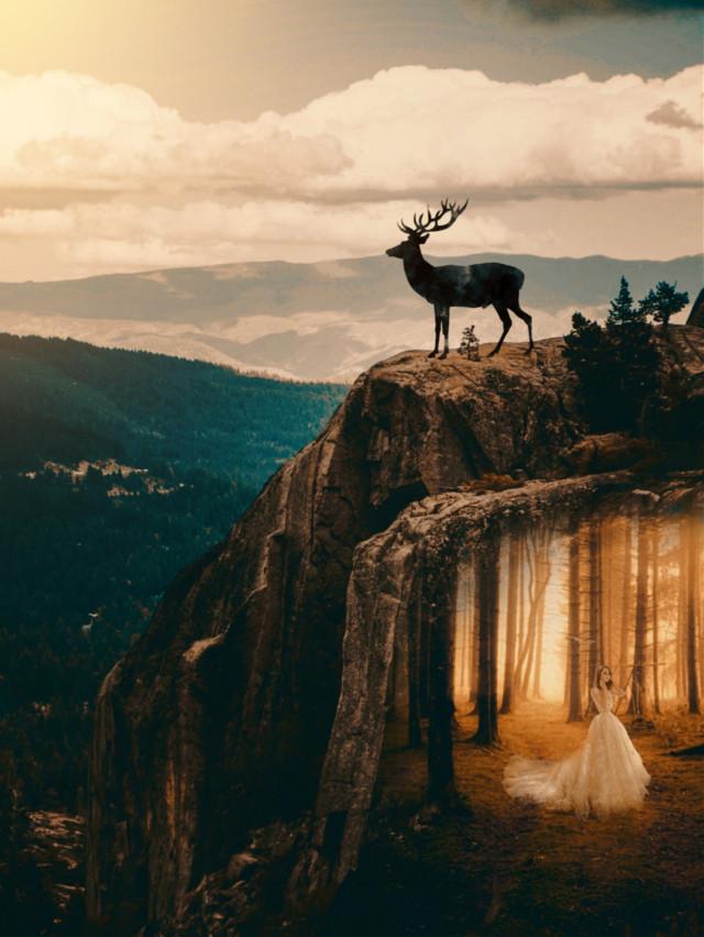 #freetoedit 🌷🌷🌷 #myedit #girl #mountain #deer #doubleexposure