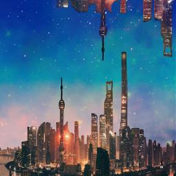 freetoedit cityscape galaxy upsidedown city