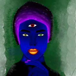 freetoedit девушка инопланетянка арт синяя